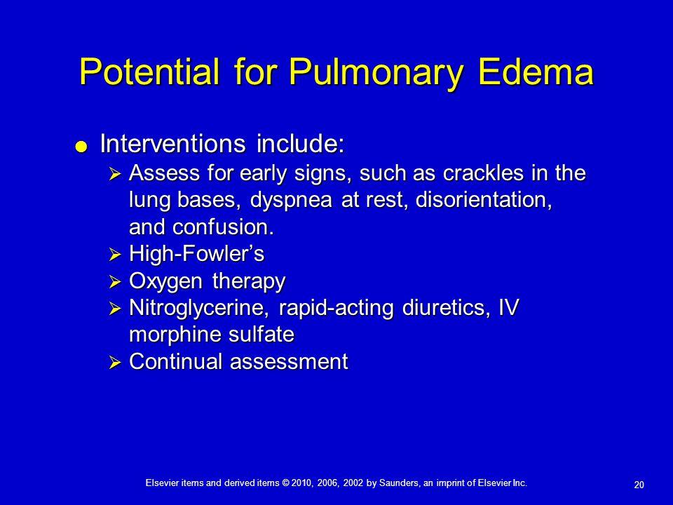Potential for Pulmonary Edema