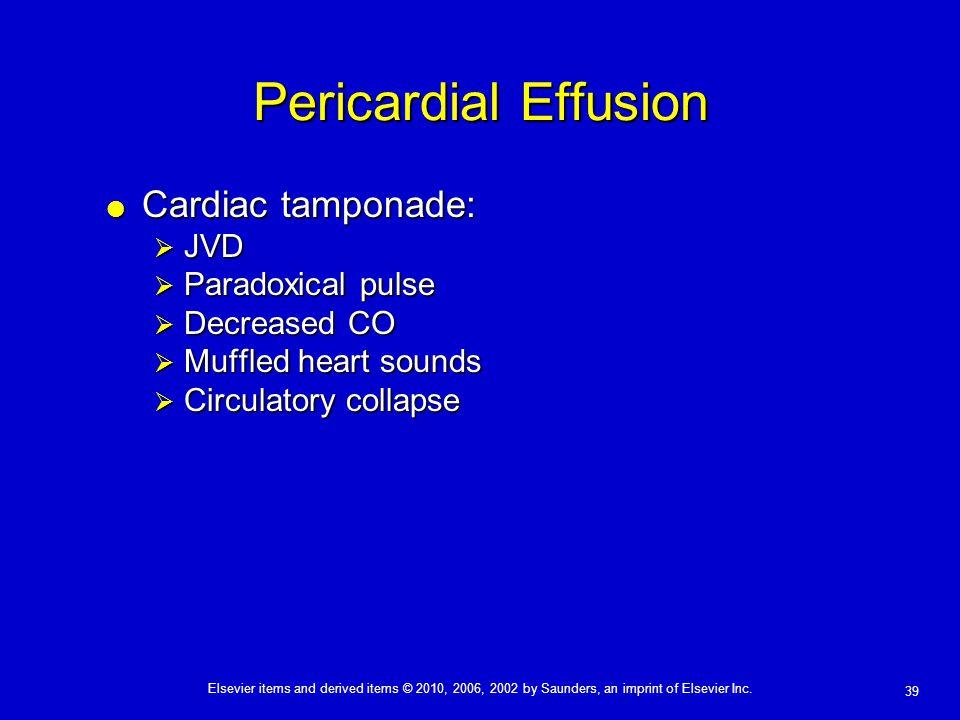 Pericardial Effusion Cardiac tamponade: JVD Paradoxical pulse