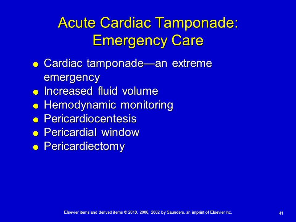 Acute Cardiac Tamponade: Emergency Care