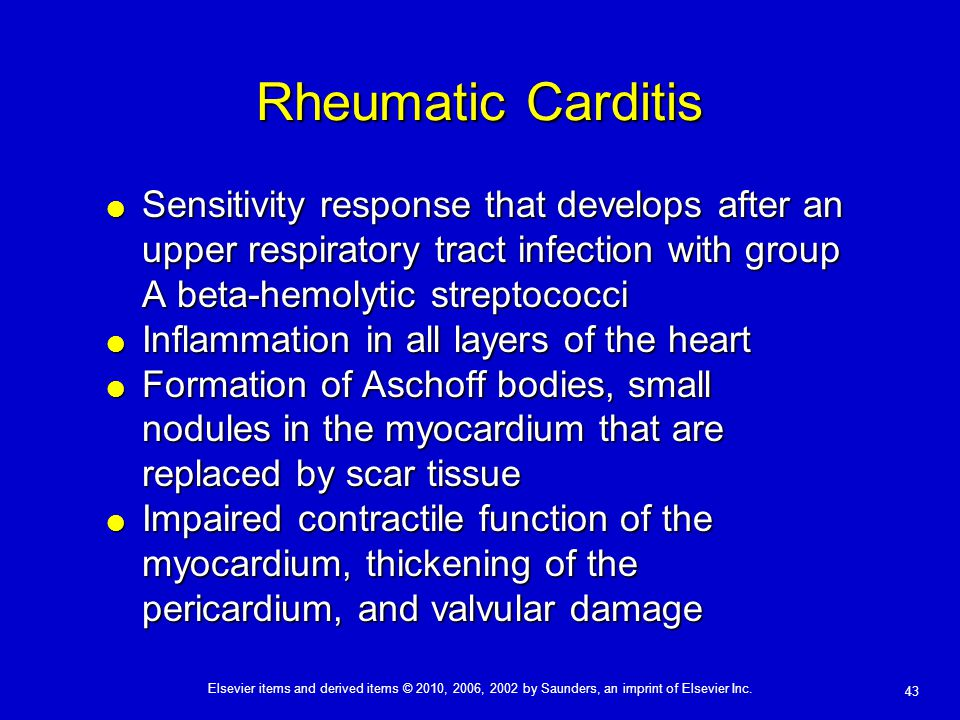 Rheumatic Carditis Sensitivity response that develops after an upper respiratory tract infection with group A beta-hemolytic streptococci.