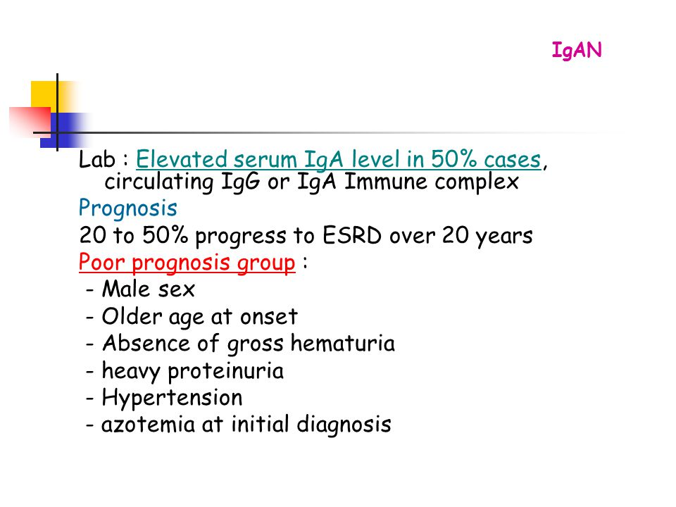 20 to 50% progress to ESRD over 20 years Poor prognosis group :