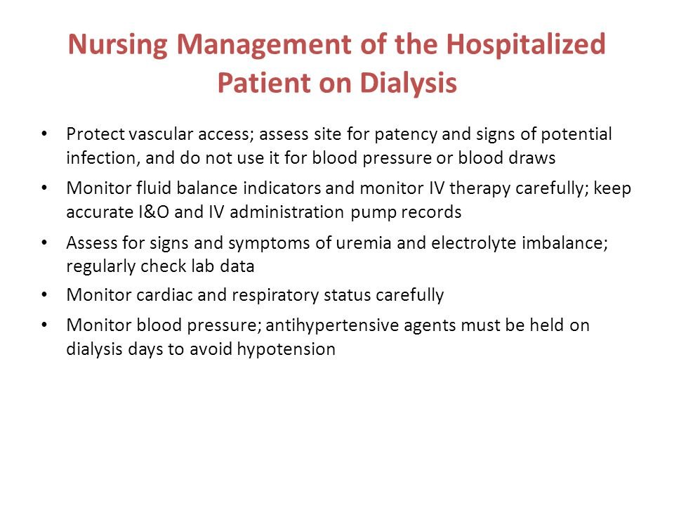 Nursing Management of the Hospitalized Patient on Dialysis