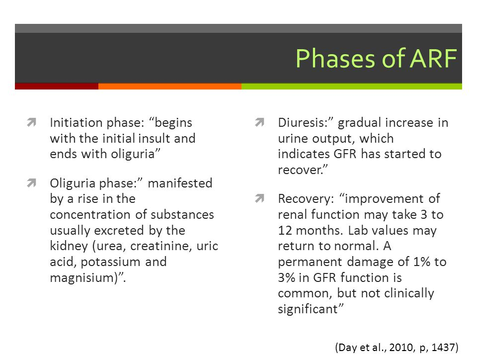 Phases of ARF Initiation phase: begins with the initial insult and ends with oliguria