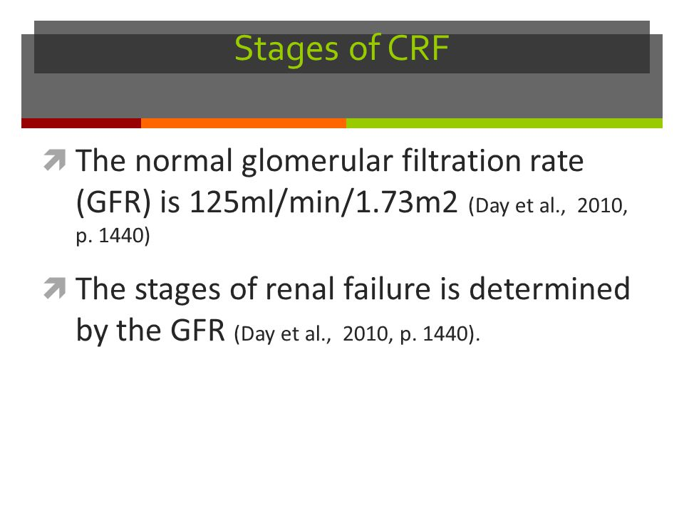 Stages of CRF The normal glomerular filtration rate (GFR) is 125ml/min/1.73m2 (Day et al., 2010, p. 1440)