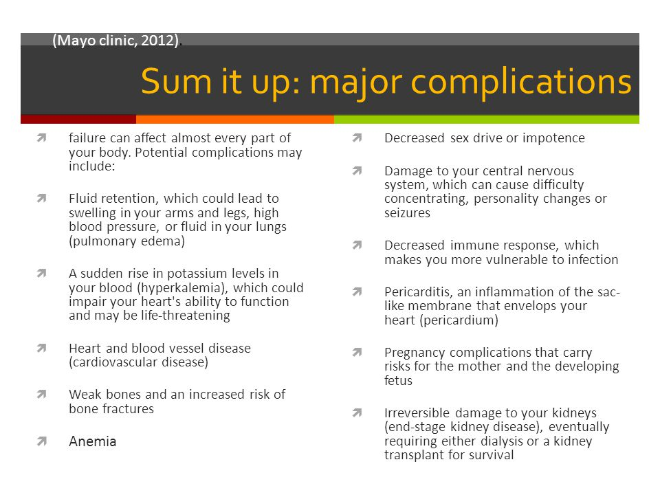 Sum it up: major complications