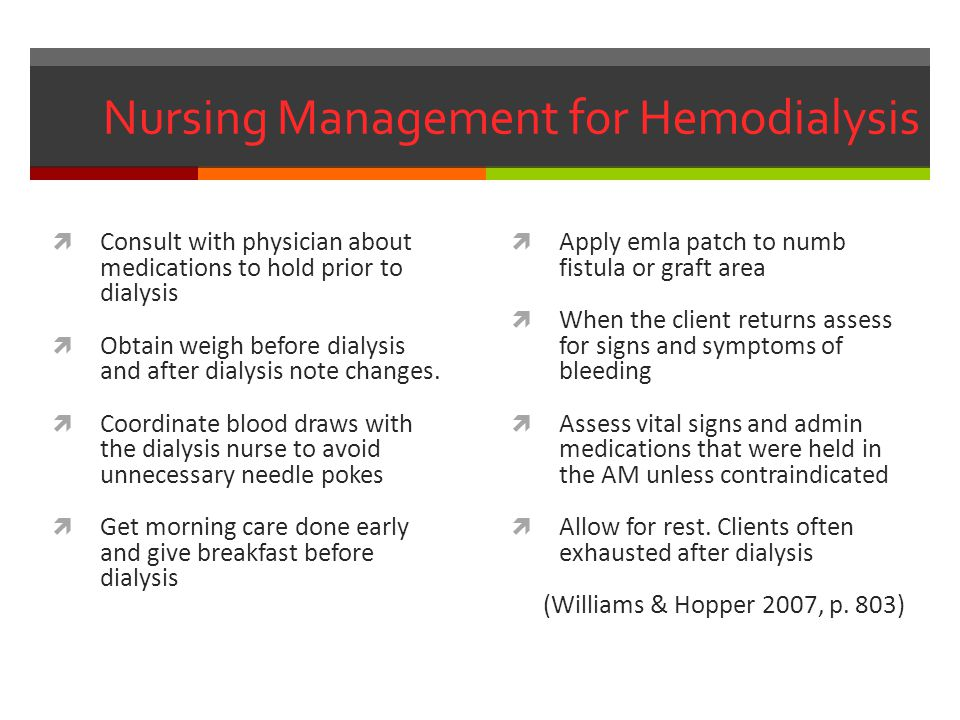 Nursing Management for Hemodialysis