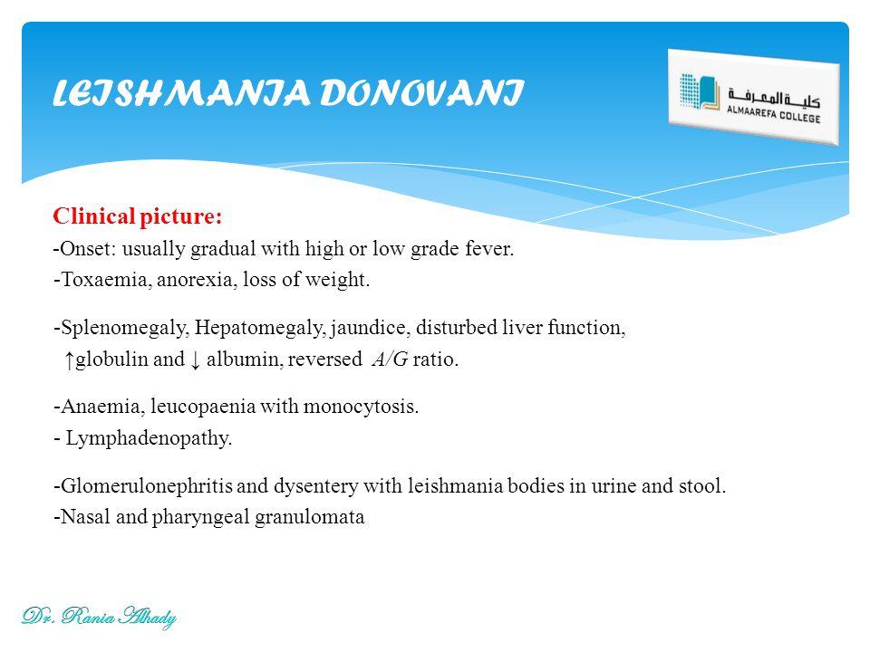 LEISHMANIA DONOVANI Clinical picture: Dr. Rania Alhady