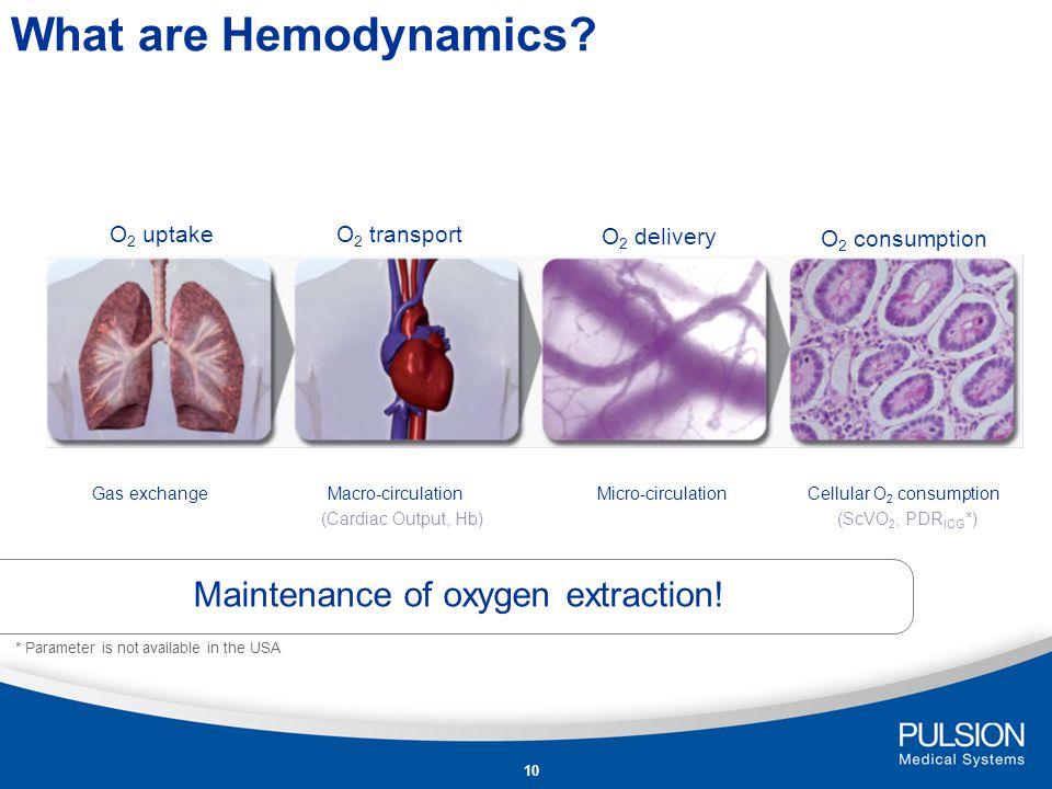 What are Hemodynamics Maintenance of oxygen extraction! O2 uptake