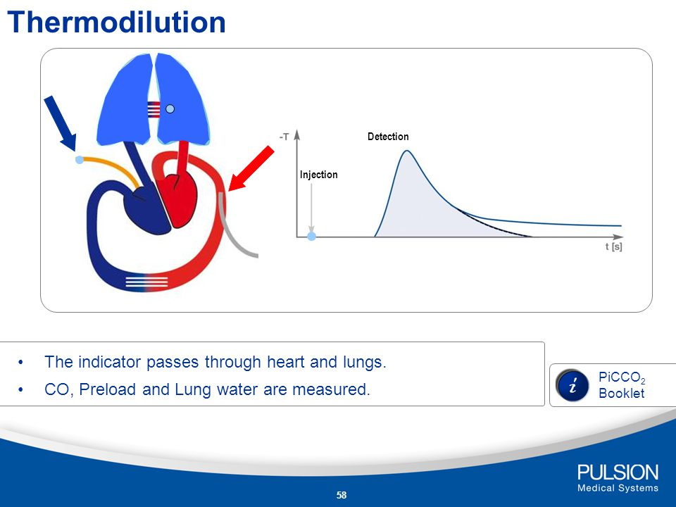 Thermodilution The indicator passes through heart and lungs.