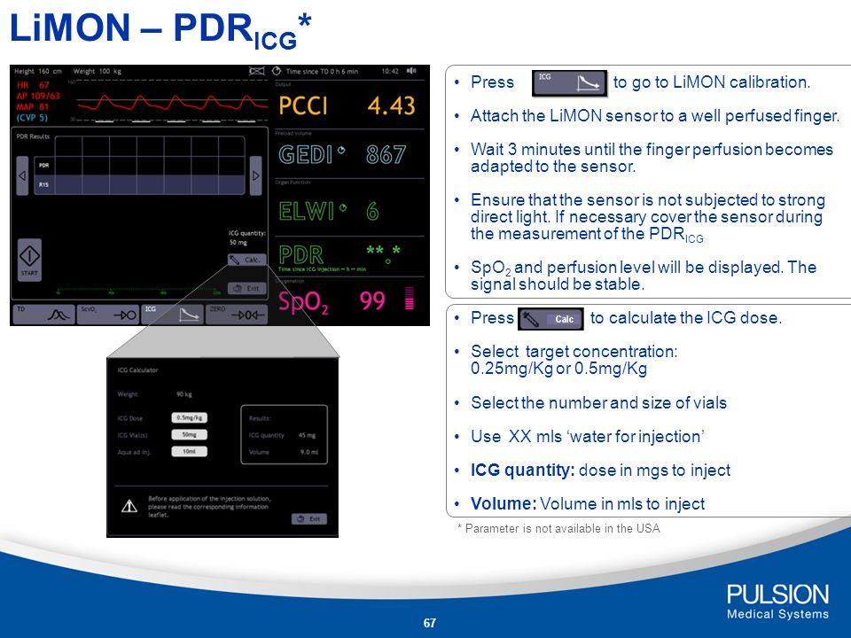 LiMON – PDRICG* Press to go to LiMON calibration.