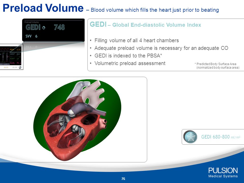 Preload Volume – Blood volume which fills the heart just prior to beating
