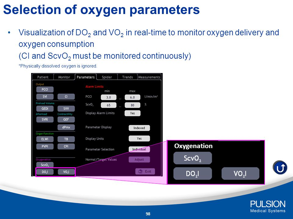 Selection of oxygen parameters