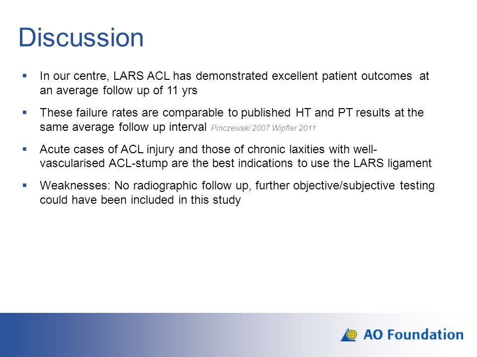 Discussion In our centre, LARS ACL has demonstrated excellent patient outcomes at an average follow up of 11 yrs.