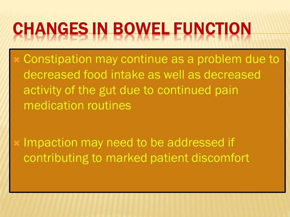Changes in bowel function