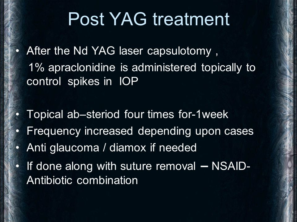 Post YAG treatment After the Nd YAG laser capsulotomy ,