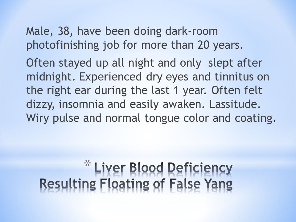 Liver Blood Deficiency Resulting Floating of False Yang