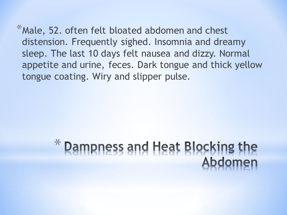 Dampness and Heat Blocking the Abdomen
