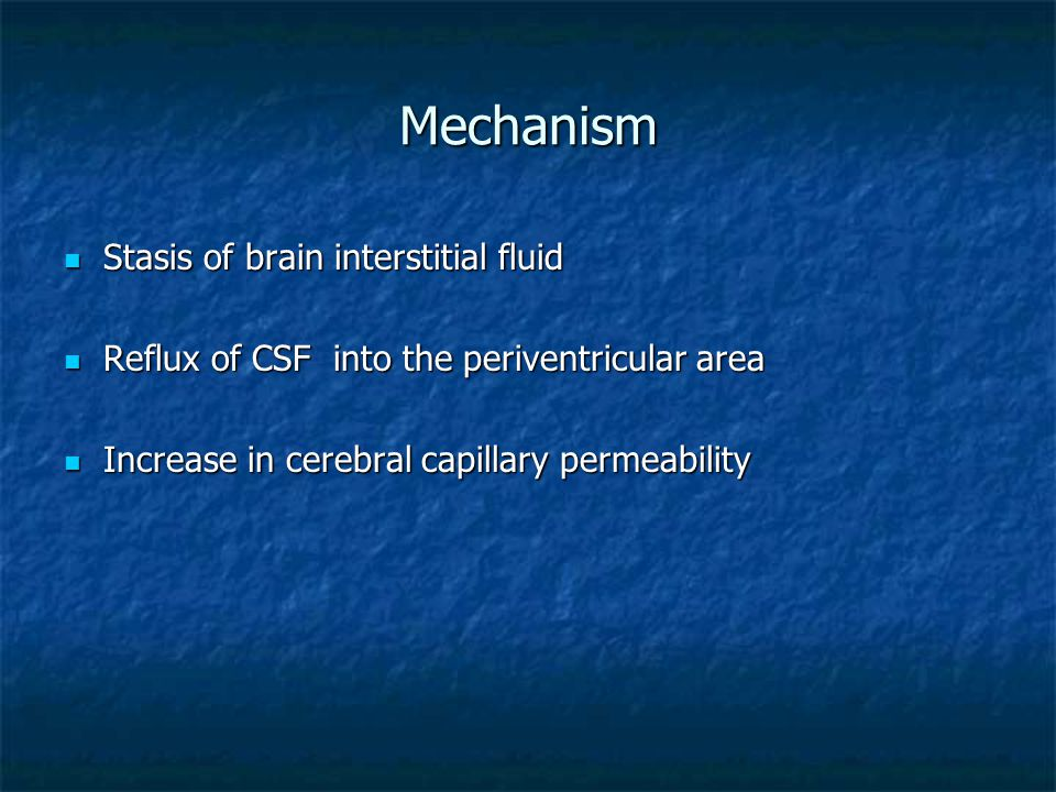 Mechanism Stasis of brain interstitial fluid