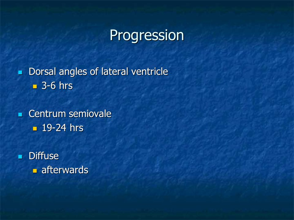 Progression Dorsal angles of lateral ventricle 3-6 hrs