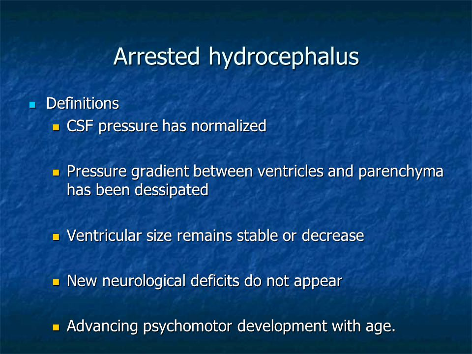 Arrested hydrocephalus