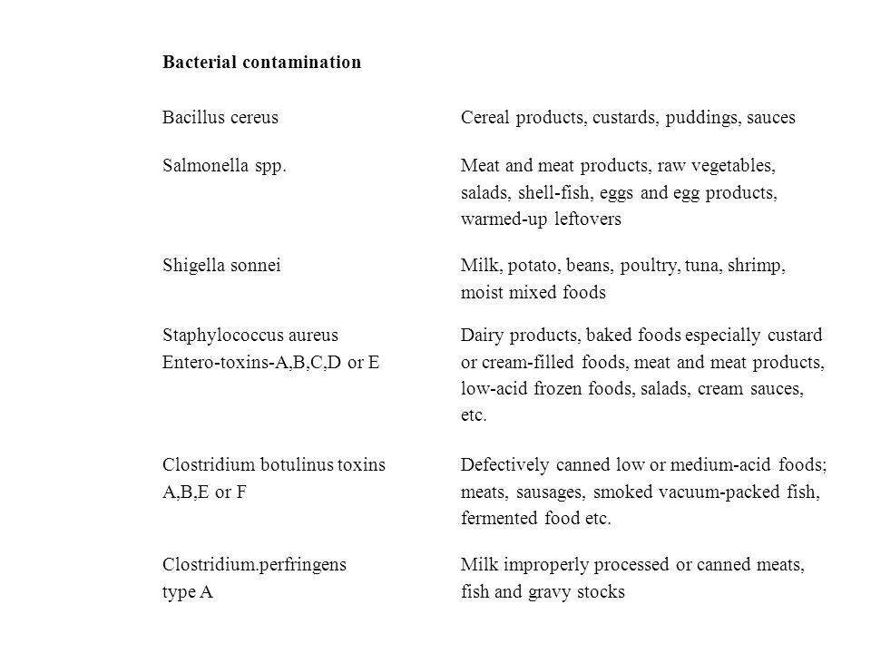 Bacterial contamination Bacillus cereus