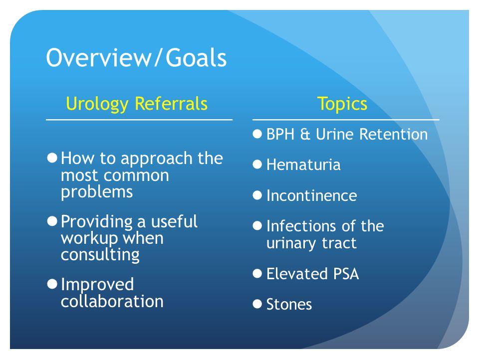 Overview/Goals Urology Referrals Topics