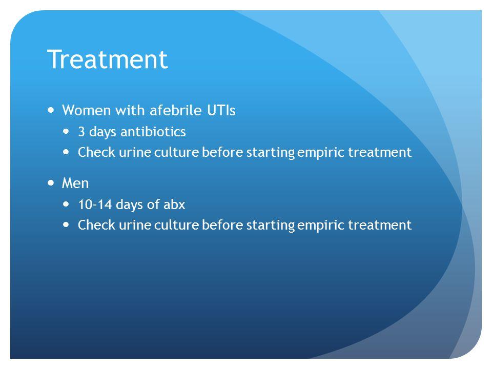 Treatment Women with afebrile UTIs Men 3 days antibiotics