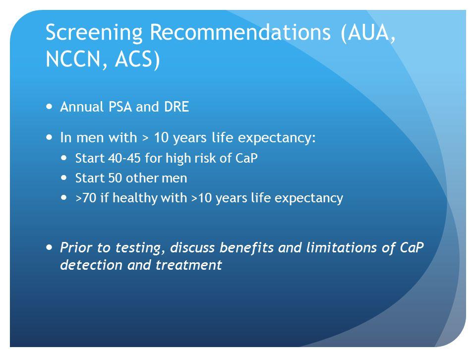 Screening Recommendations (AUA, NCCN, ACS)