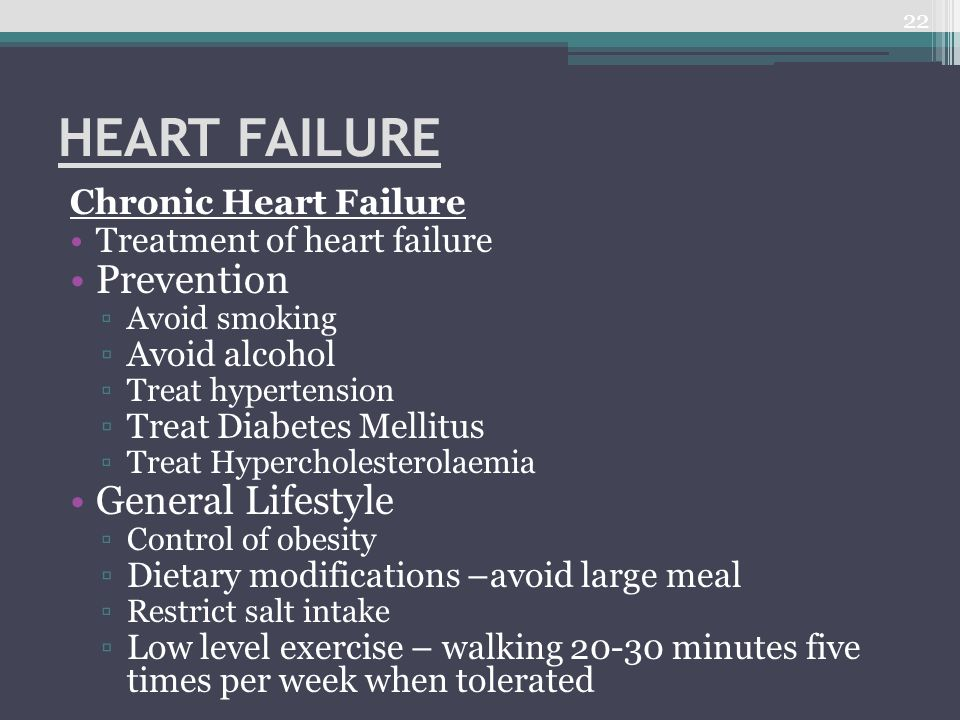 HEART FAILURE Prevention General Lifestyle Chronic Heart Failure