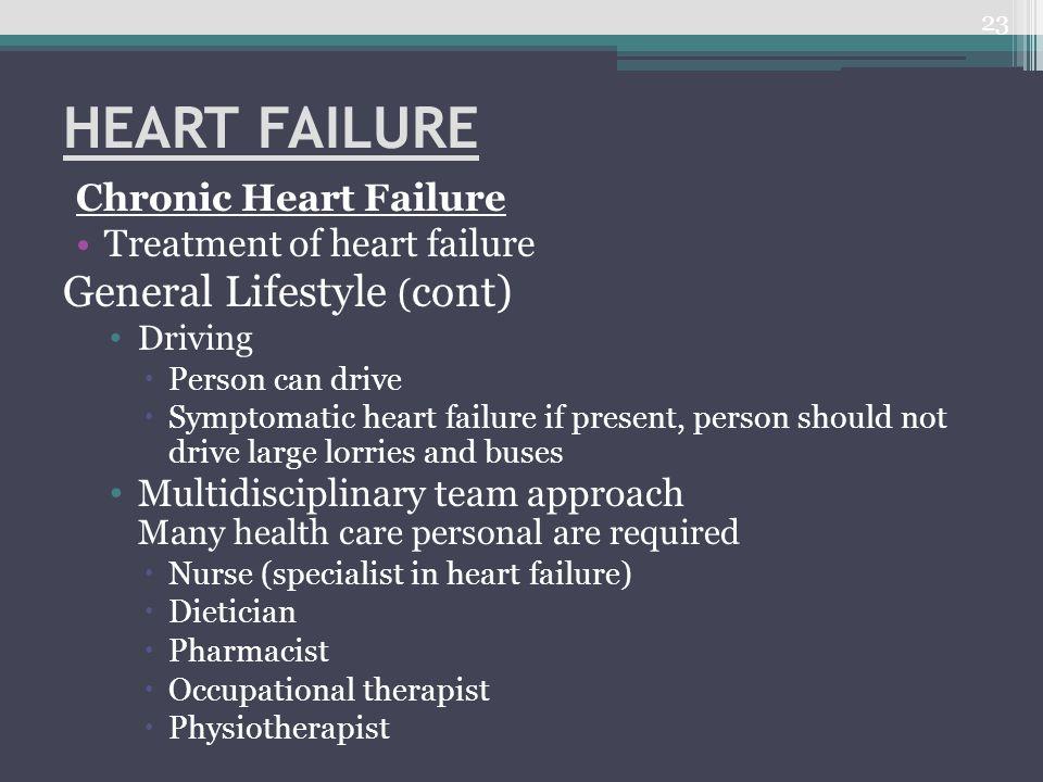 HEART FAILURE General Lifestyle (cont) Chronic Heart Failure