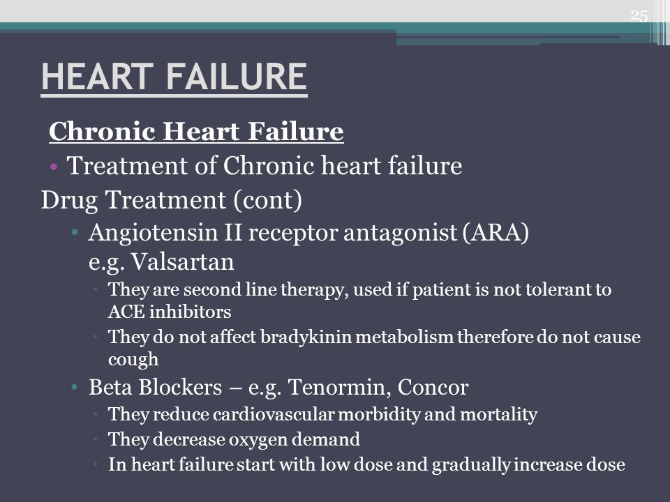 HEART FAILURE Chronic Heart Failure Treatment of Chronic heart failure