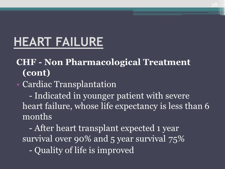 HEART FAILURE CHF - Non Pharmacological Treatment (cont)