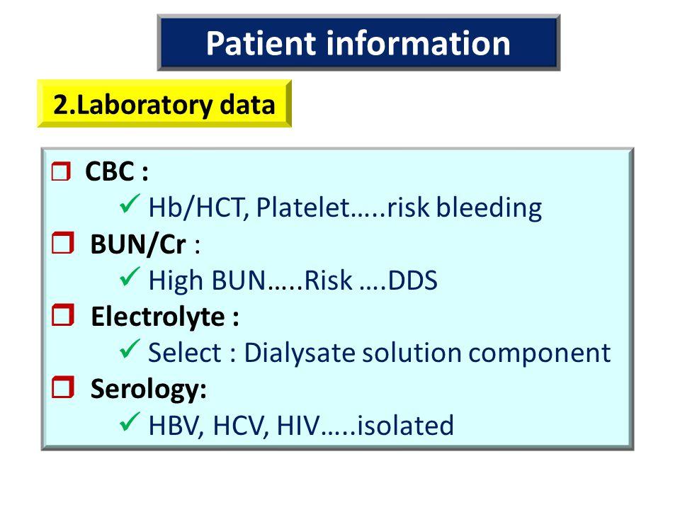 Patient information 2.Laboratory data
