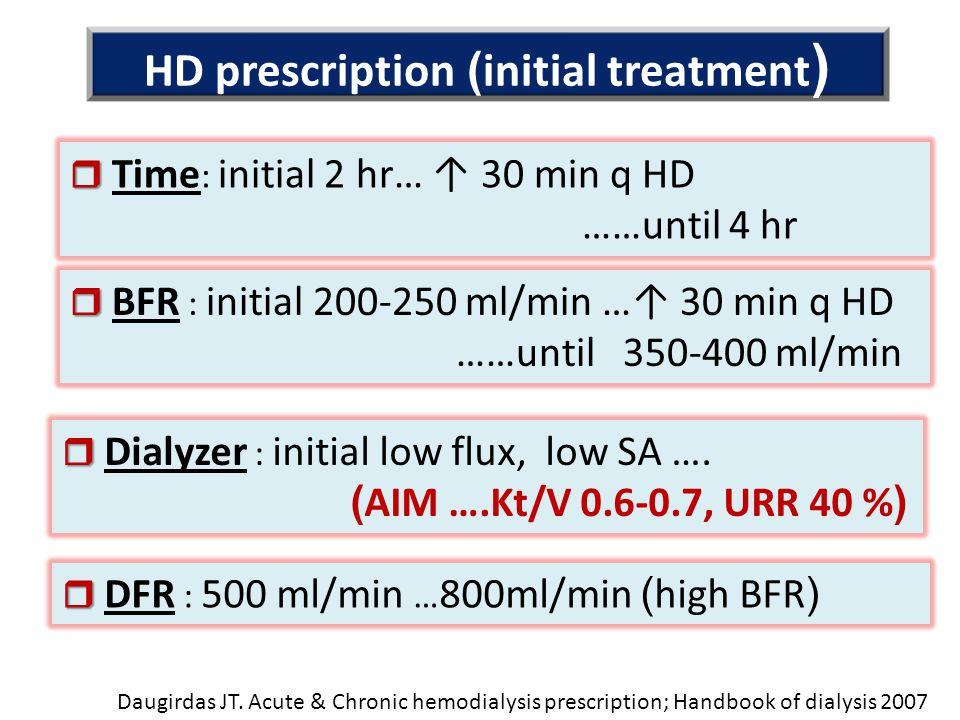 HD prescription (initial treatment)