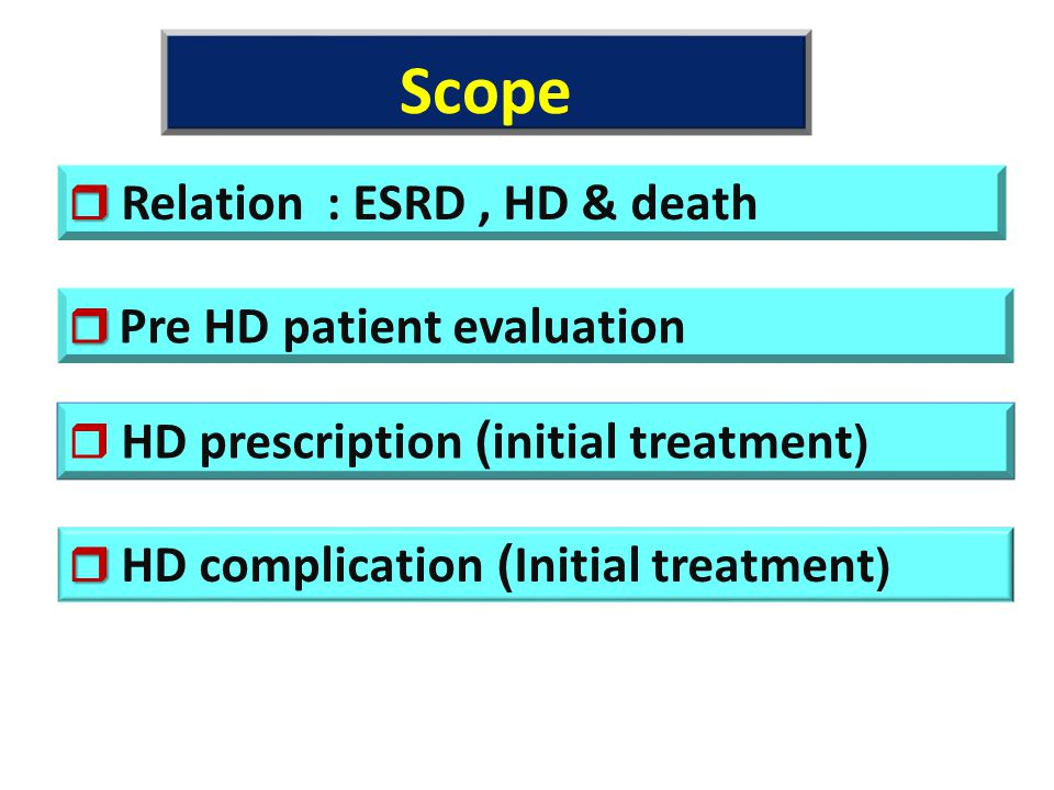 Scope  Relation : ESRD , HD & death  Pre HD patient evaluation