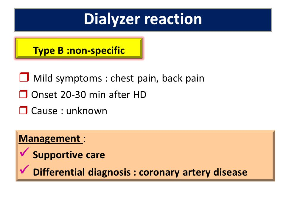 Dialyzer reaction  Supportive care