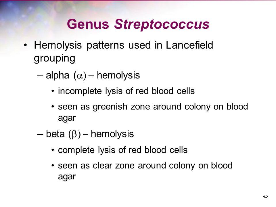 Genus Streptococcus Hemolysis patterns used in Lancefield grouping