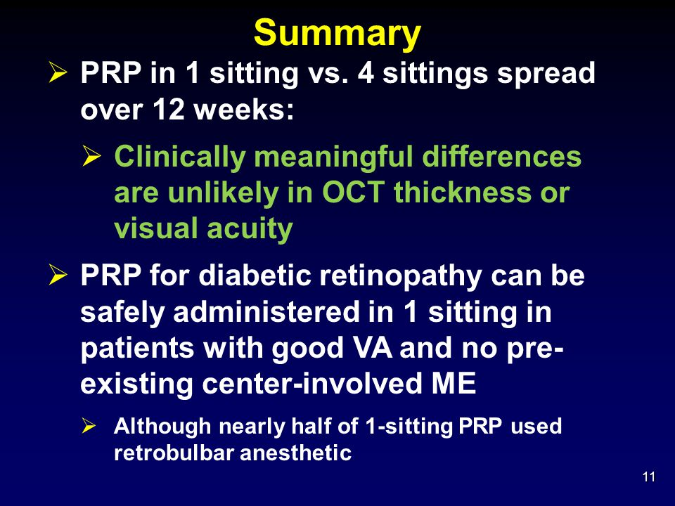 Summary PRP in 1 sitting vs. 4 sittings spread over 12 weeks: