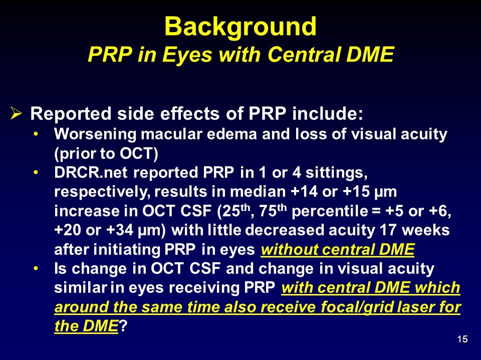 Background PRP in Eyes with Central DME