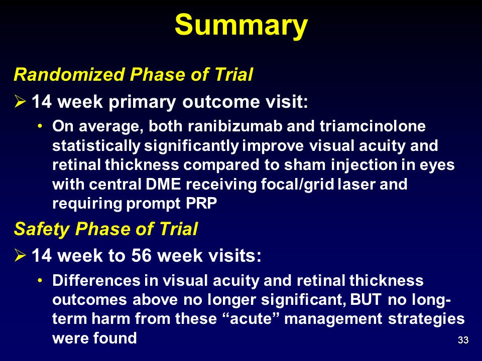 Summary Randomized Phase of Trial 14 week primary outcome visit: