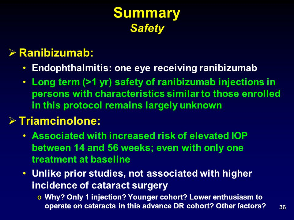 Summary Safety Ranibizumab: Triamcinolone: