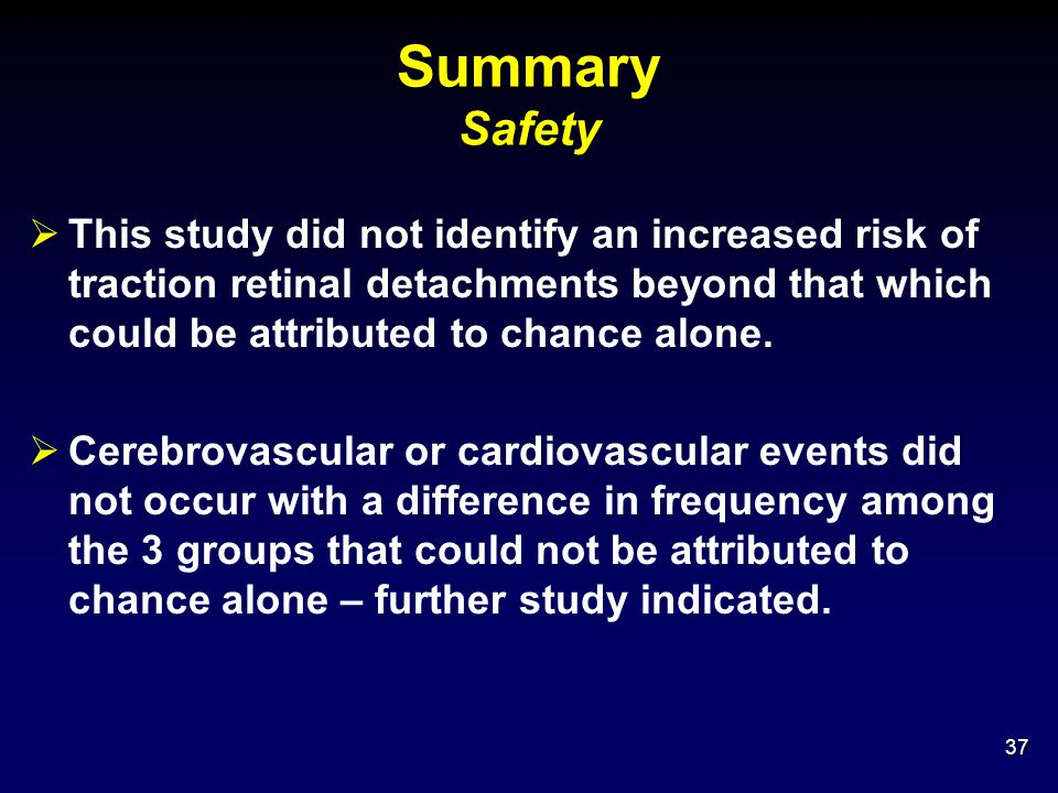 Summary Safety This study did not identify an increased risk of traction retinal detachments beyond that which could be attributed to chance alone.