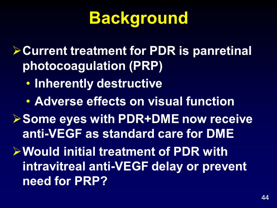 Background Current treatment for PDR is panretinal photocoagulation (PRP) Inherently destructive. Adverse effects on visual function.