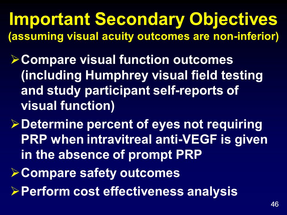 Important Secondary Objectives (assuming visual acuity outcomes are non-inferior)