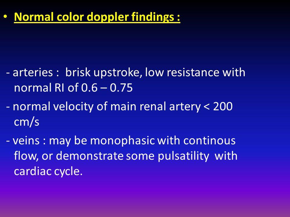 Normal color doppler findings :