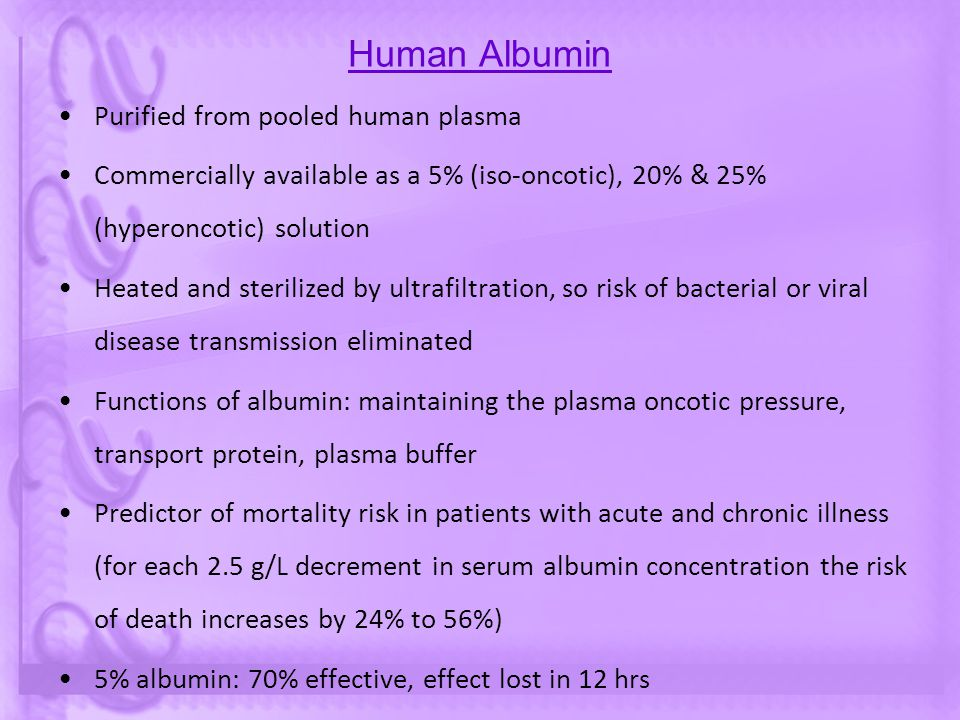 Human Albumin Purified from pooled human plasma