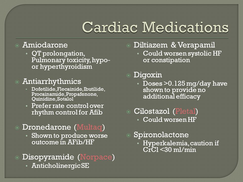 Cardiac Medications Amiodarone Antiarrhythmics Dronedarone (Multaq)