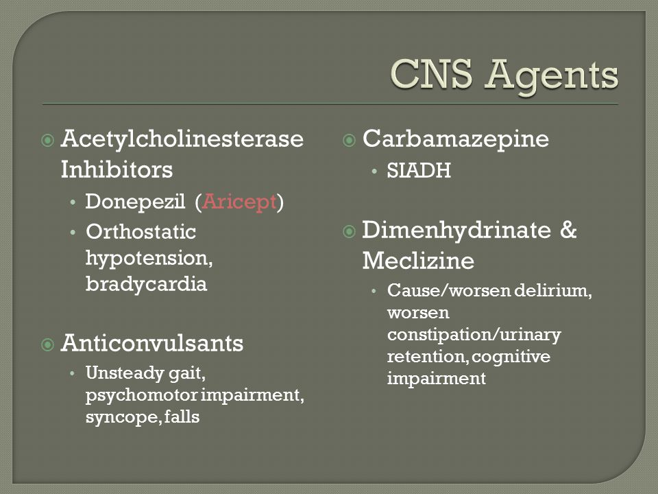 CNS Agents Acetylcholinesterase Inhibitors Anticonvulsants