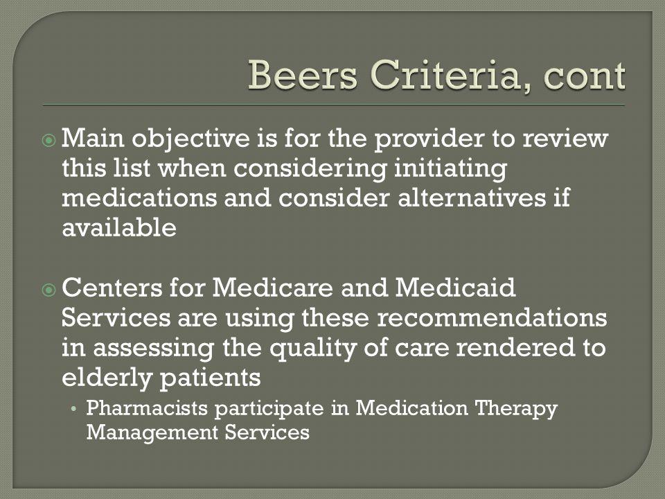 Beers Criteria, cont