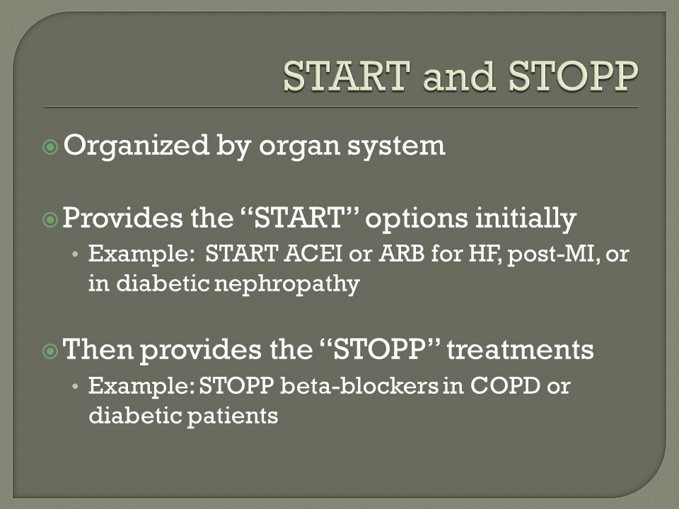 START and STOPP Organized by organ system